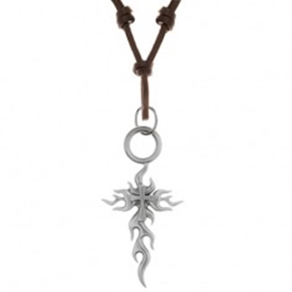 Šperky eshop Náhrdelník zo syntetickej kože s príveskom - veľký patinovaný kríž, tribal vzory