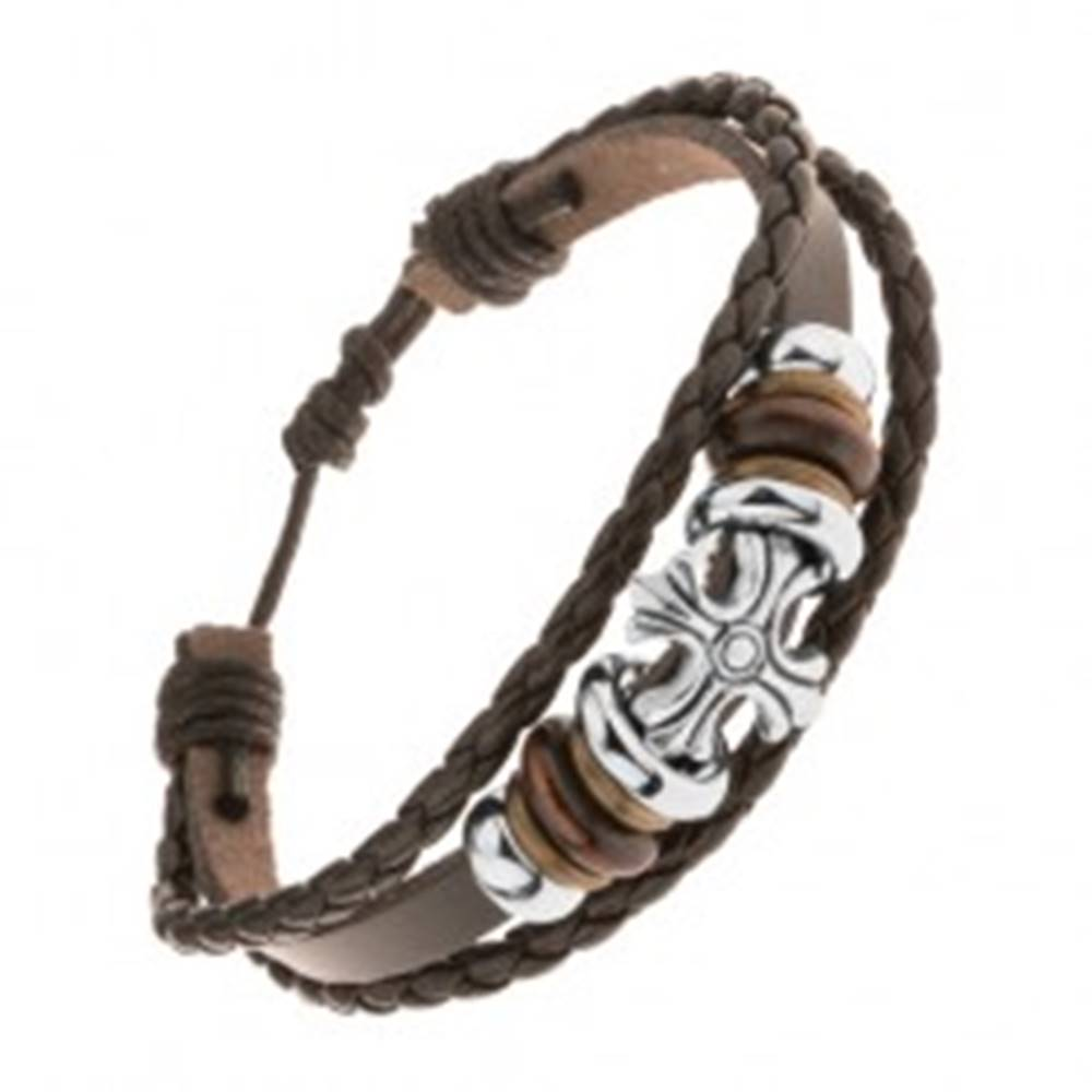 Šperky eshop Náramok z troch pásov umelej kože, oceľové a drevené korálky, ľaliový kríž