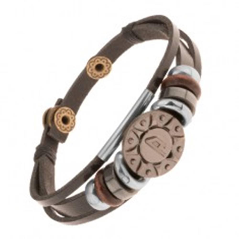 Šperky eshop Nastaviteľný kožený náramok z troch pásov, korálky, oceľové slnko