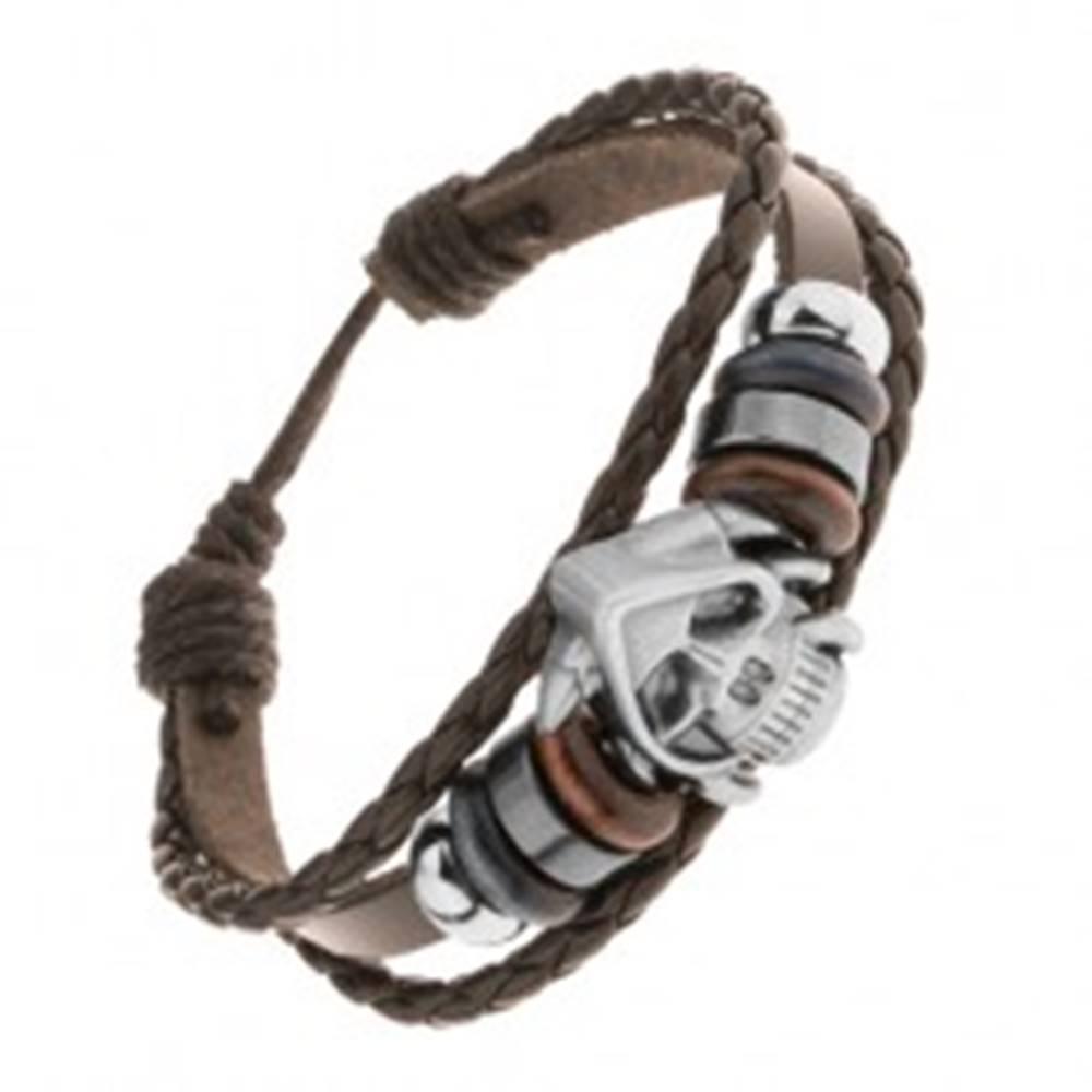 Šperky eshop Nastaviteľný náramok z pásov syntetickej kože, korálky, lebka s pazúrmi