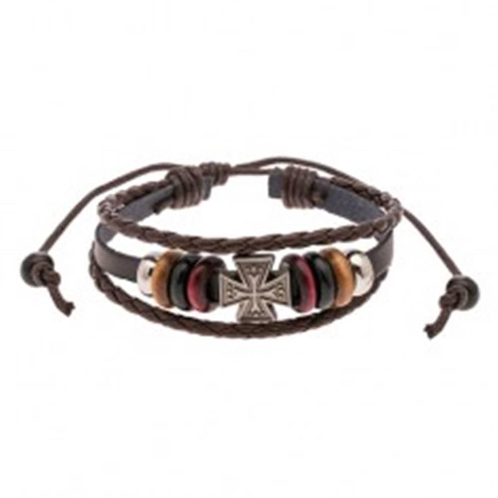 Šperky eshop Nastaviteľný náramok z pásov umelej kože, korálky, maltézsky kríž