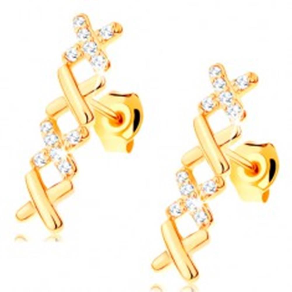 Šperky eshop Náušnice v žltom 14K zlate - dva hladké a dva zirkónové krížiky