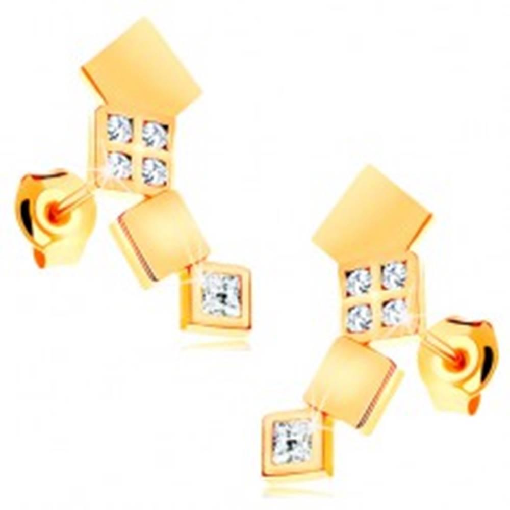 Šperky eshop Náušnice v žltom 14K zlate - ligotavé štvorčeky tvoriace oblúk, puzetky