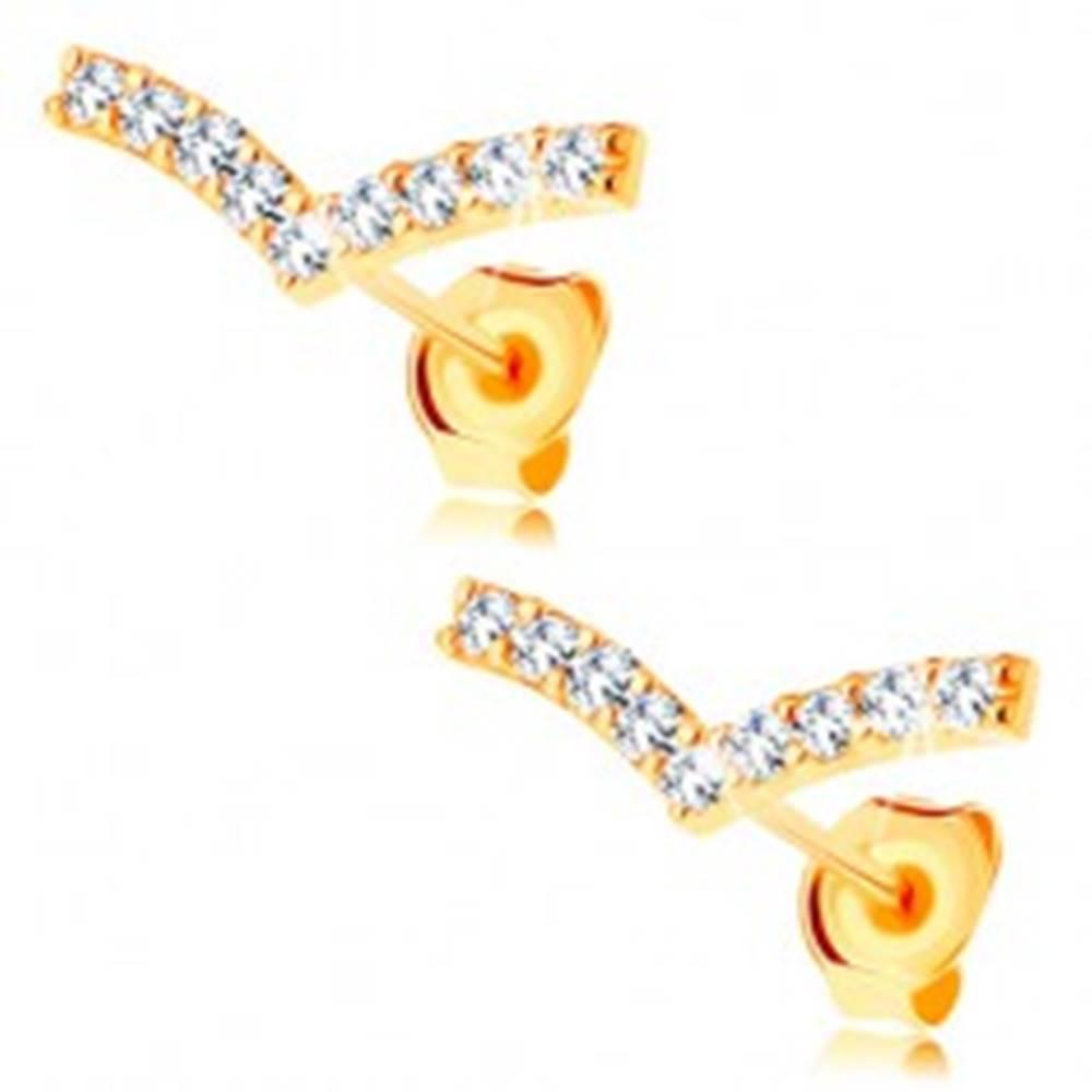 Šperky eshop Náušnice v žltom 14K zlate - úzky zalomený pásik zdobený čírymi zirkónmi