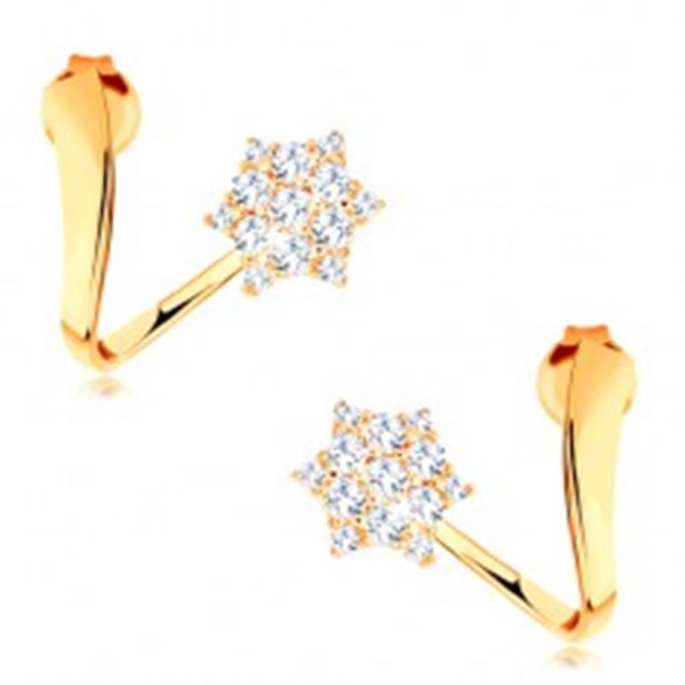 Šperky eshop Náušnice zo žltého 14K zlata - zvlnená stuha s trblietavou hviezdičkou