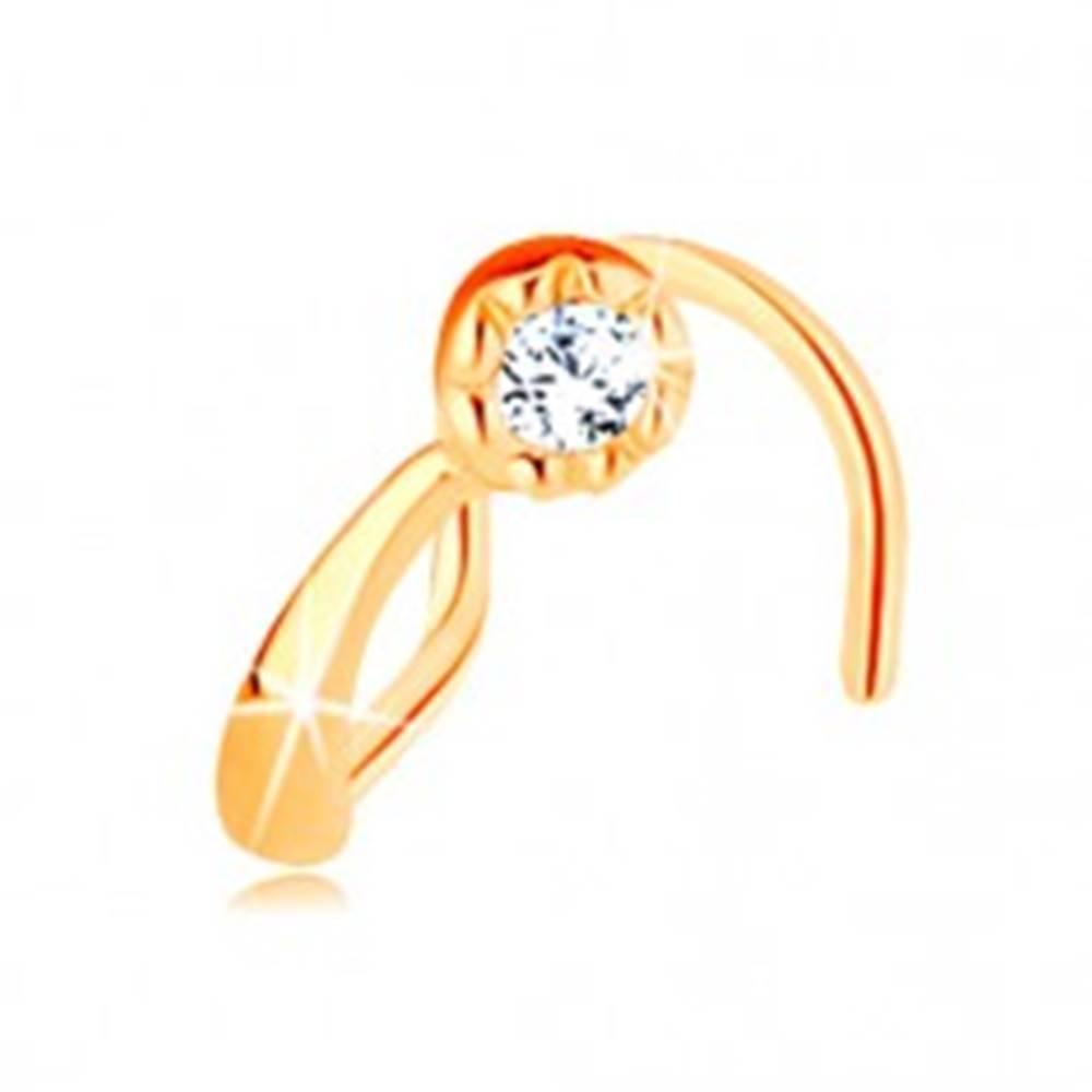 Šperky eshop Piercing do nosa v žltom 14K zlate - malá kométa s okrúhlym čírym zirkónom