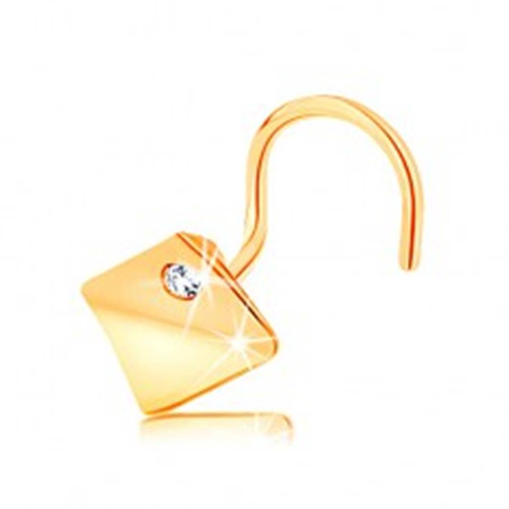Šperky eshop Piercing do nosa zo žltého 14K zlata - klenutý štvorec s čírym zirkónom
