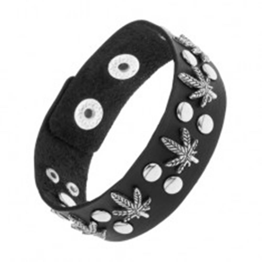Šperky eshop Vybíjaný čierny náramok zo syntetickej kože, patinované listy konope