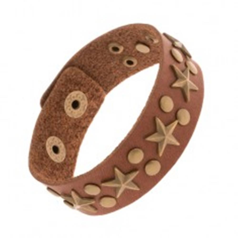 Šperky eshop Vybíjaný hnedý náramok zo syntetickej kože, patinované hviezdy a nity