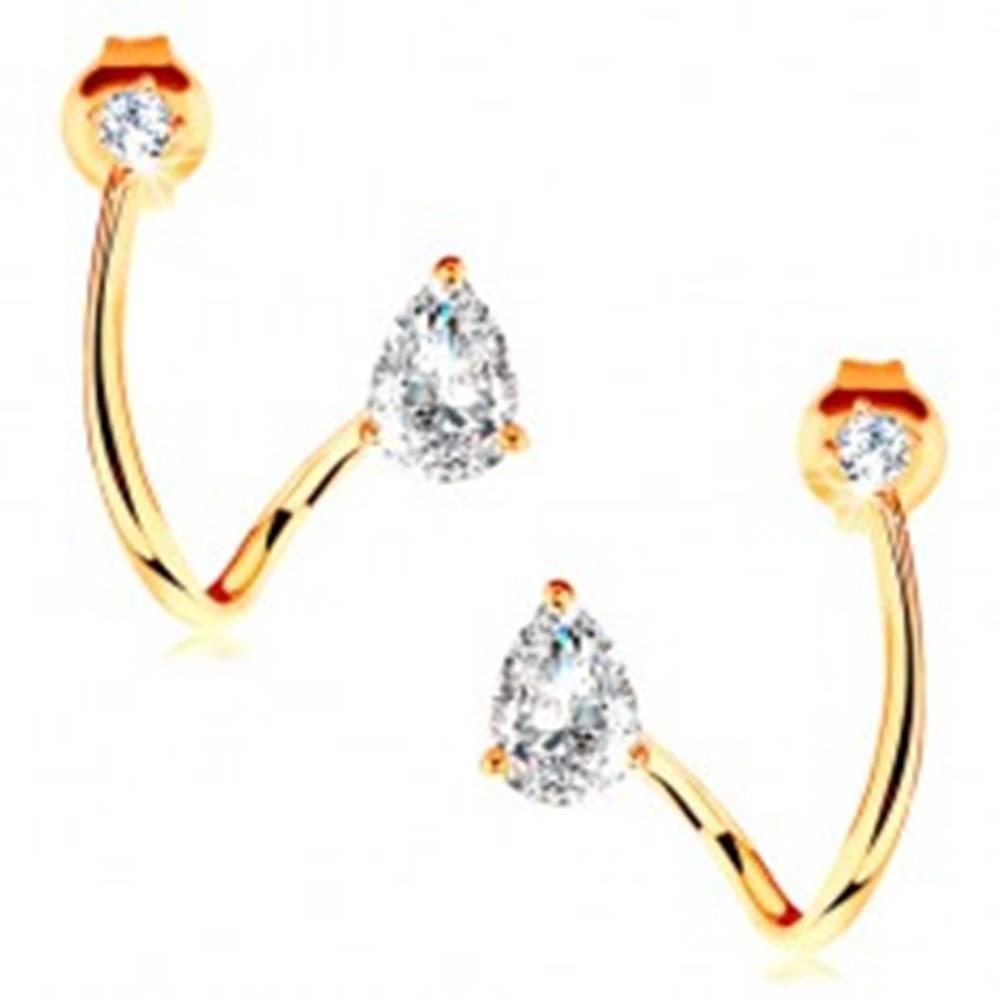 Šperky eshop Zlaté náušnice 585 - zaoblená línia zahnutá do oblúka, brúsená číra kvapka