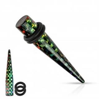 Čierny akrylový taper do ucha, štvorčeky v dúhových farbách, rôzne veľkosti - Hrúbka: 3 mm