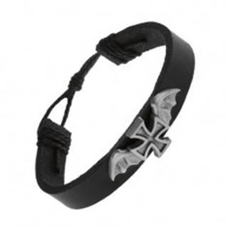 Kožený náramok čiernej farby, maltézsky kríž s netopierými krídlami