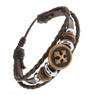 Multináramok z kože a šnúrok, oceľové a drevené korálky, kríž v kruhu