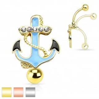 Piercing do bruška z ocele 316L, modrá kotva s lanom a čírymi zirkónmi - Farba piercing: Medená