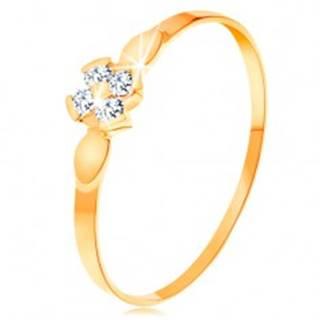 Prsteň v žltom 14K zlate - kvet zo štyroch čírych zirkónov, lesklé lístky - Veľkosť: 49 mm