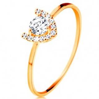 Prsteň v žltom 14K zlate - trblietavá podkova, veľký okrúhly zirkón - Veľkosť: 49 mm