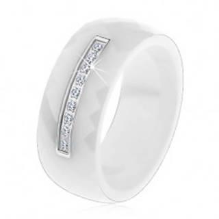 Prsteň z bielej keramiky s brúseným povrchom, tenký oceľový pás, zirkóny - Veľkosť: 50 mm