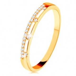 Prsteň zo žltého 14K zlata - číra zirkónová línia, pásy bielej glazúry - Veľkosť: 49 mm