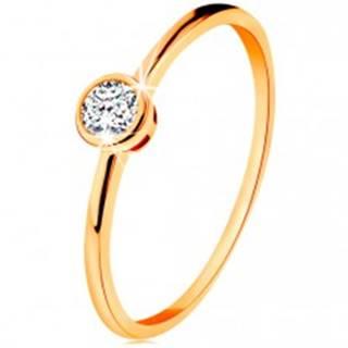 Prsteň zo žltého 14K zlata - ligotavý okrúhly zirkón v lesklej objímke - Veľkosť: 49 mm