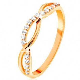 Prsteň zo žltého 14K zlata - prepletené vlnky - hladká a zirkónová - Veľkosť: 49 mm