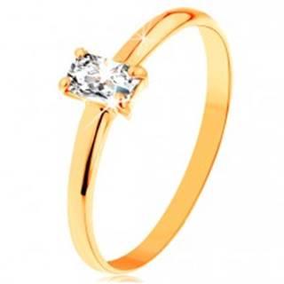 Prsteň zo žltého zlata 585 - vystupujúci zirkónový obdĺžnik, hladké ramená - Veľkosť: 49 mm