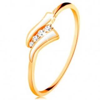 Zlatý prsteň 585 - dve biele vlnky, línia čírych zirkónov, lesklé ramená - Veľkosť: 49 mm