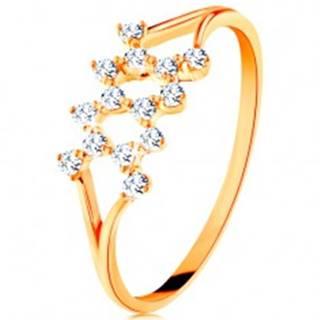 Zlatý prsteň 585 - rozdelené zahnuté ramená, cik-cak vzor zo zirkónov - Veľkosť: 49 mm