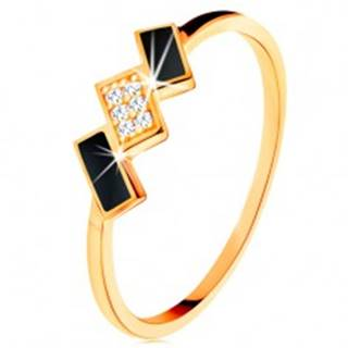 Zlatý prsteň 585 - šikmé obdĺžniky zdobené čiernou glazúrou a zirkónmi - Veľkosť: 49 mm
