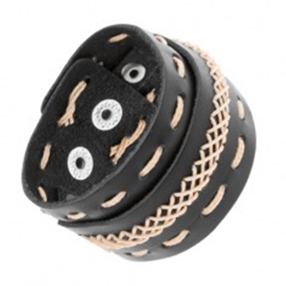 Šperky eshop Náramok z čiernej syntetickej kože, prešívaný béžovým motúzikom