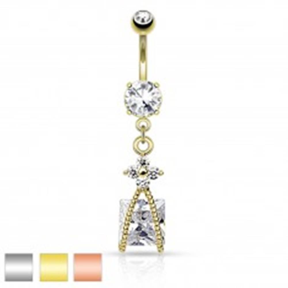 Šperky eshop Oceľový piercing do bruška, trblietavý kvietok čírej farby, zirkónový štvorec - Farba piercing: Medená - číra