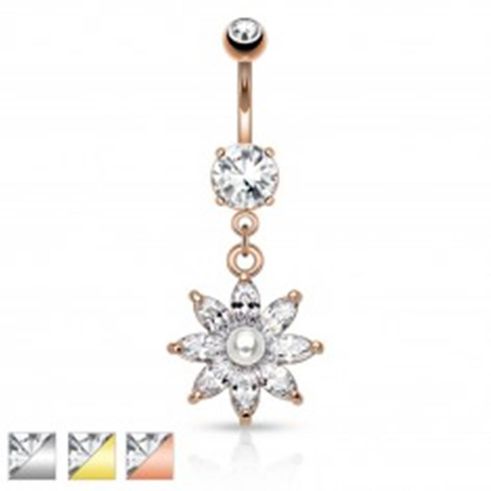 Šperky eshop Oceľový piercing do pupku, trblietavý zirkónový kvet čírej farby, perlička - Farba piercing: Medená - číra
