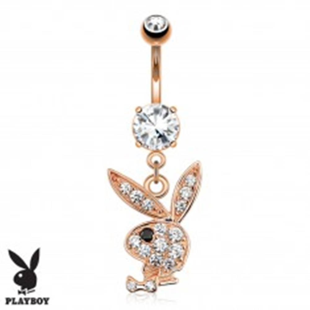 Šperky eshop Piercing do pupka z ocele 316L medenej farby, číry zirkónový zajac Playboy