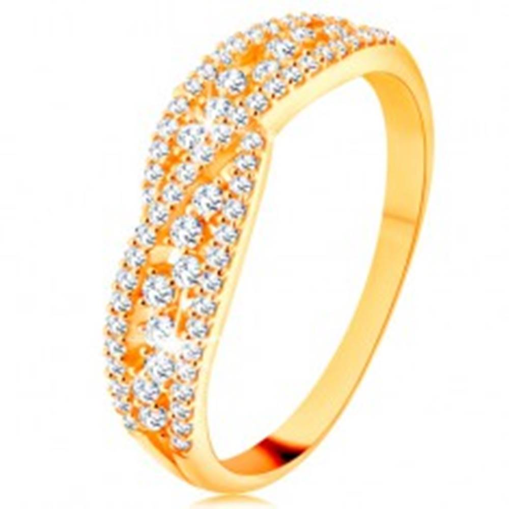 Šperky eshop Prsteň v žltom 14K zlate - prepletené trblietavé línie zdobené čírymi zirkónmi - Veľkosť: 48 mm