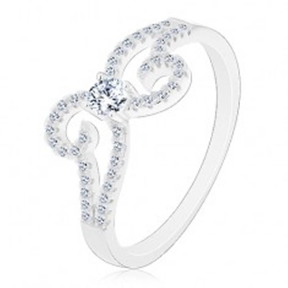 Šperky eshop Prsteň zo striebra 925, ligotavá mašlička z rozdvojených ramien - Veľkosť: 49 mm