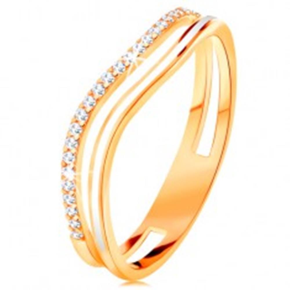 Šperky eshop Prsteň zo žltého 14K zlata, zvlnené ramená s výrezom v strede, glazúra a zirkóny - Veľkosť: 49 mm