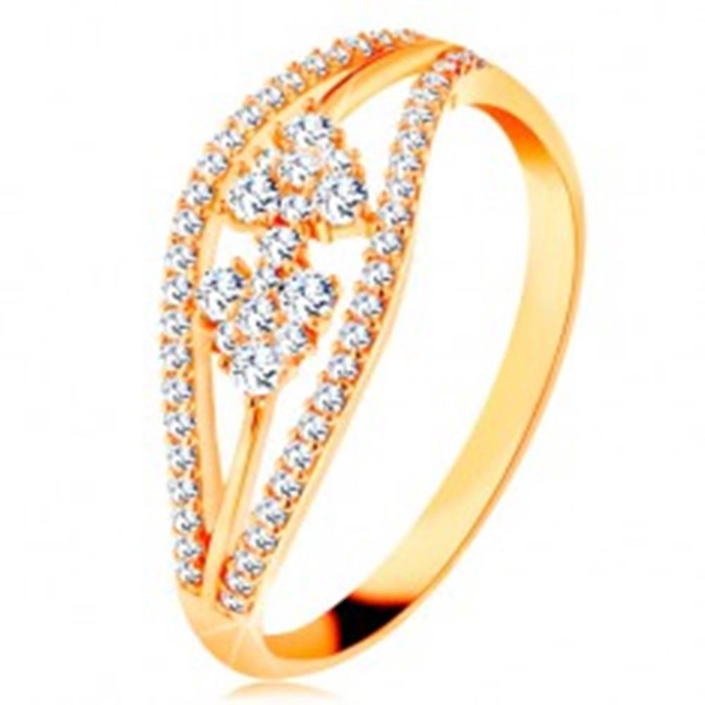 Šperky eshop Prsteň zo žltého 14K zlata - zvlnené trblietavé línie a mašlička zo zirkónov - Veľkosť: 48 mm