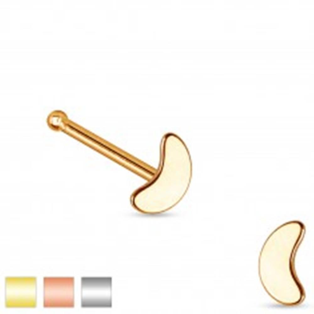 Šperky eshop Rovný piercing do nosa z ocele 316L, malý lesklý kosák mesiaca - Farba piercing: Medená