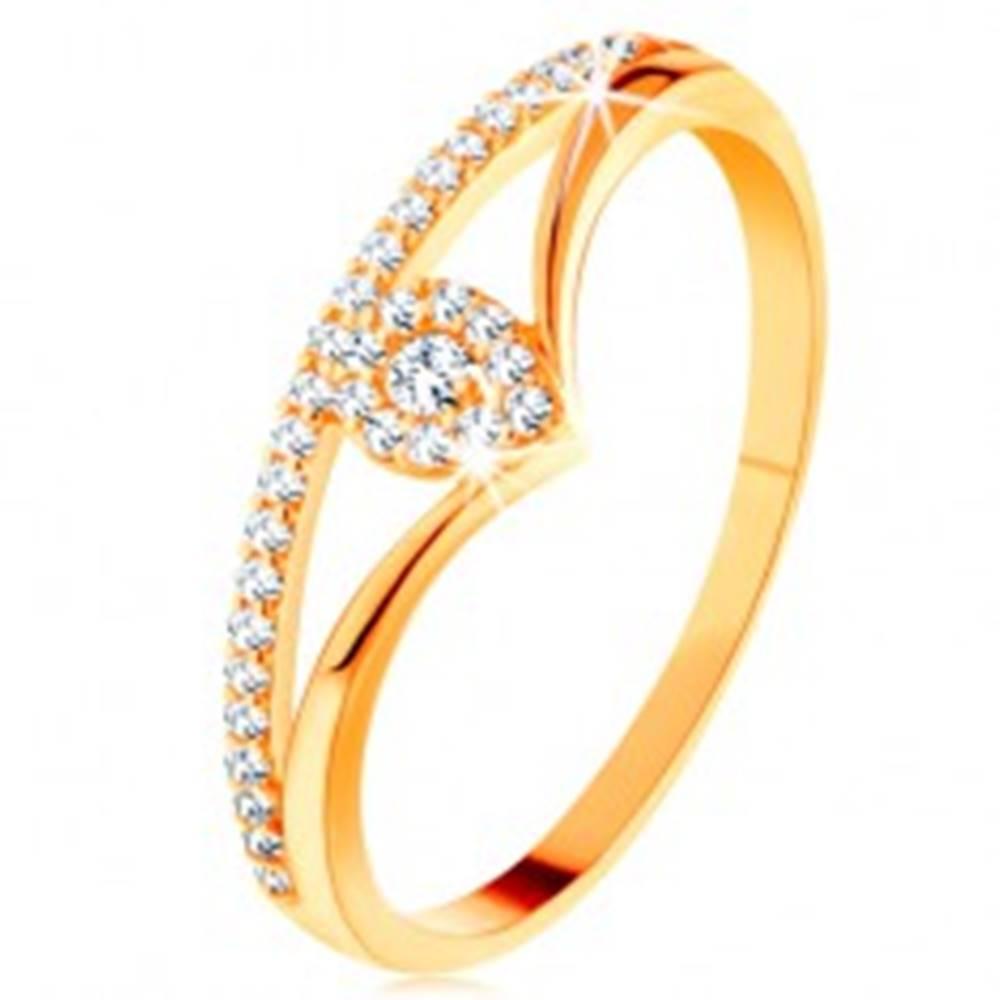 Šperky eshop Zlatý prsteň 585 - rozdvojené zahnuté ramená, číra zirkónová kvapka - Veľkosť: 49 mm