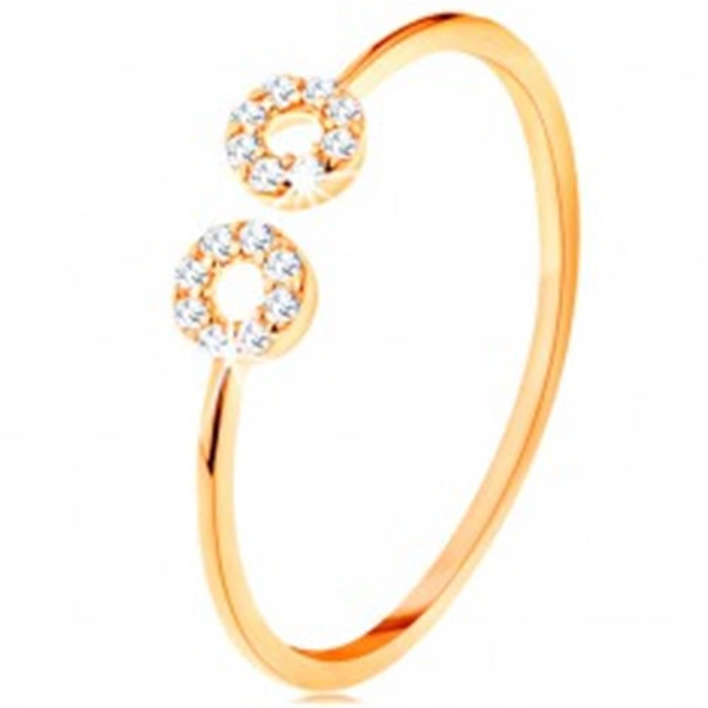Šperky eshop Zlatý prsteň 585 s úzkymi oddelenými ramenami, malé zirkónové obruče - Veľkosť: 51 mm