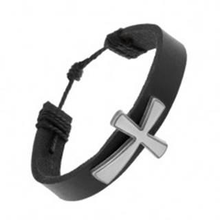 Kožený náramok čiernej farby, veľký patinovaný kríž s matným povrchom