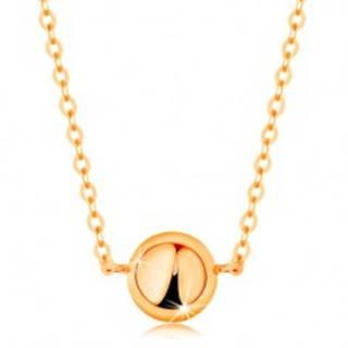 Náhrdelník zo žltého 14K zlata - zrkadlovolesklá pologulička, jemná retiazka