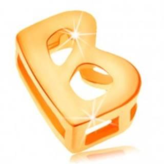 Prívesok v žltom 14K zlate, tlačené písmeno B, lesklý a hladký povrch