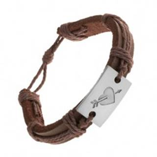 Tmavohnedý kožený náramok so šnúrkami, obdĺžnik s vyrytým srdcom a šípom