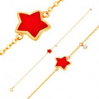 Zlatý náramok 585 s príveskami - hviezda s červenou glazúrou, číry zirkón