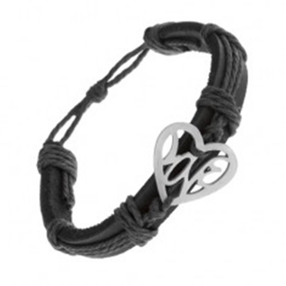 Šperky eshop Čierny náramok zo syntetickej kože a šnúrok, vyrezávané srdce