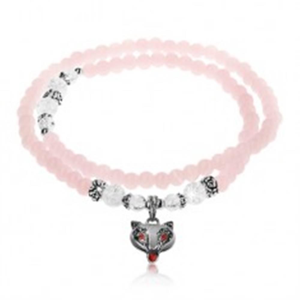 Šperky eshop Elastický náramok, lesklé ružové a číre guličky, oceľové korálky, líška