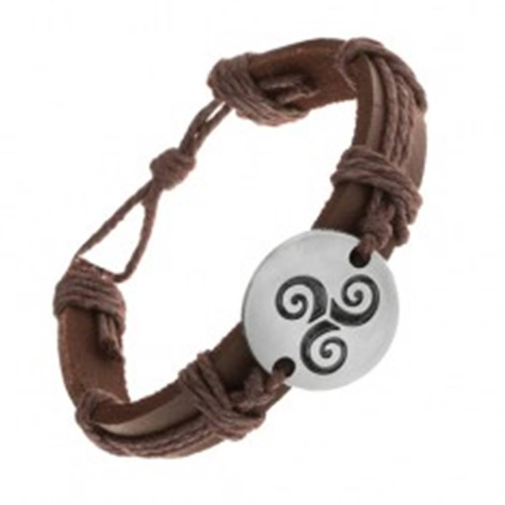 Šperky eshop Hnedý náramok zo syntetickej kože a šnúrok, kruh s čiernou špirálou Tribal