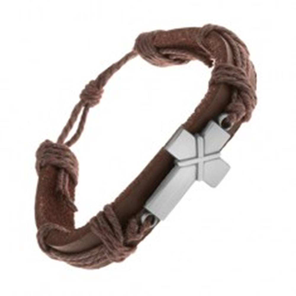 Šperky eshop Kožený náramok tmavohnedej farby, patinovaný kríž s prekríženými pásikmi