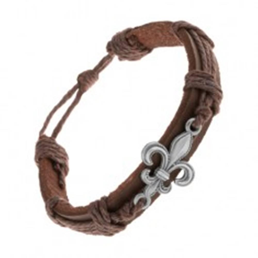 Šperky eshop Kožený náramok tmavohnedej farby, patinovaný oceľový symbol Fleur de Lis