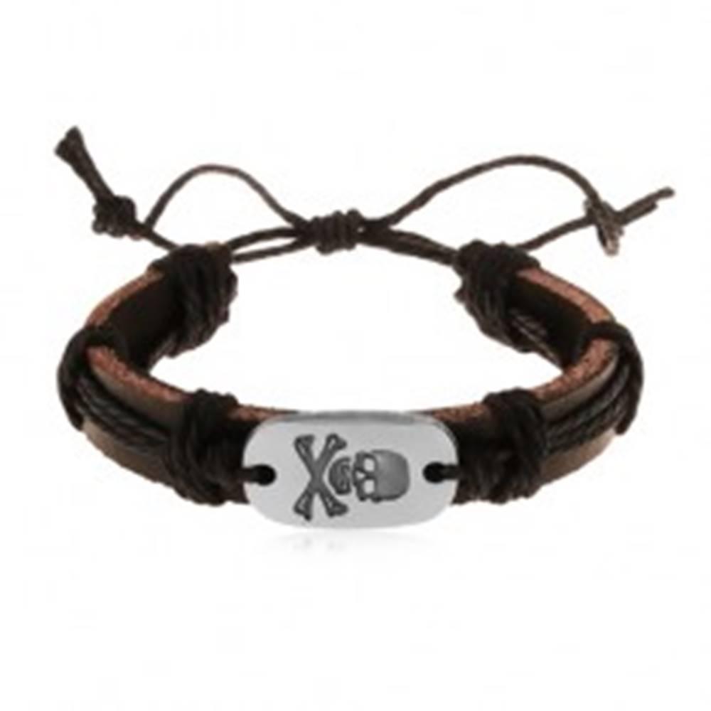 Šperky eshop Kožený náramok tmavohnedej farby s čiernymi šnúrkami, ovál s lebkou